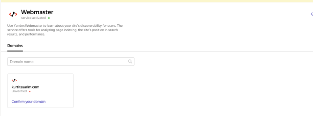 Yandex connect confirm domain