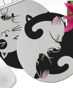 Kawaii Black and White Neko Mouse Pad