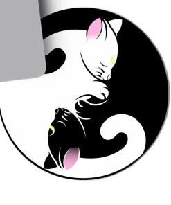 Kawaii Black and White Neko Mouse Pad 1