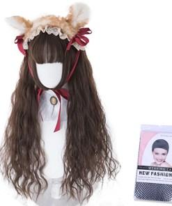 Kawaii Brunette Curly Lolita Wig with Bangs