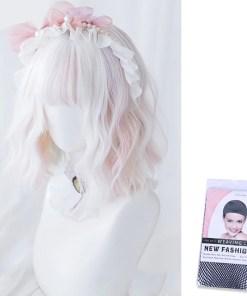 Kawaii Short White Pink Lolita Wig