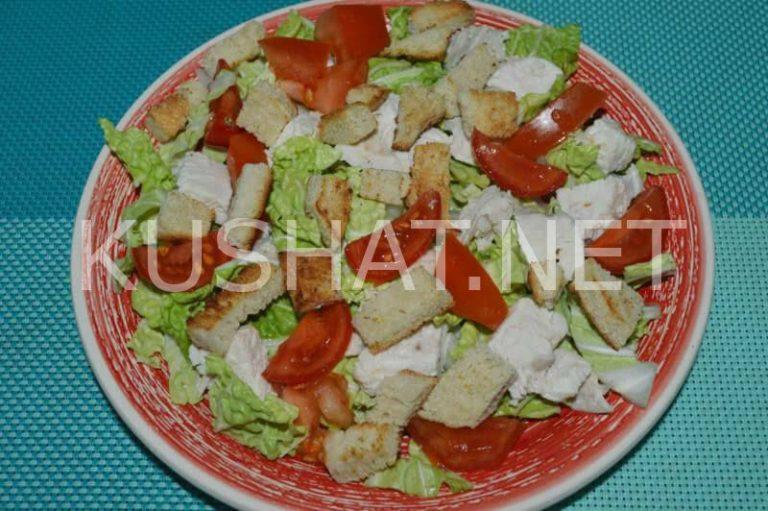 Салат «Цезарь» с пекинской капустой и курицей. Пошаговый ...