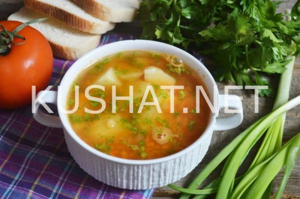 Простой суп из красной чечевицы. Пошаговый рецепт с фото ...