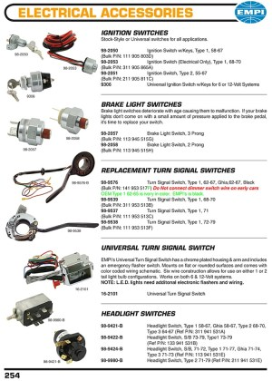 Ignition switches, brakes light switches, turnsignal