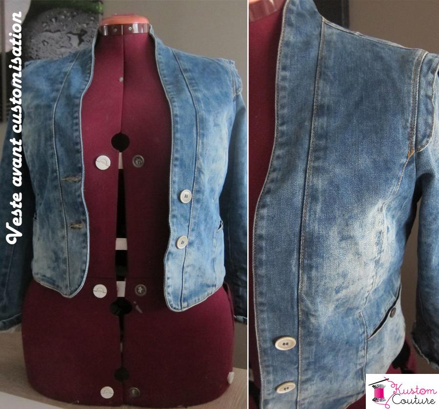 Veste en jean avant customisation   Kustom Couture