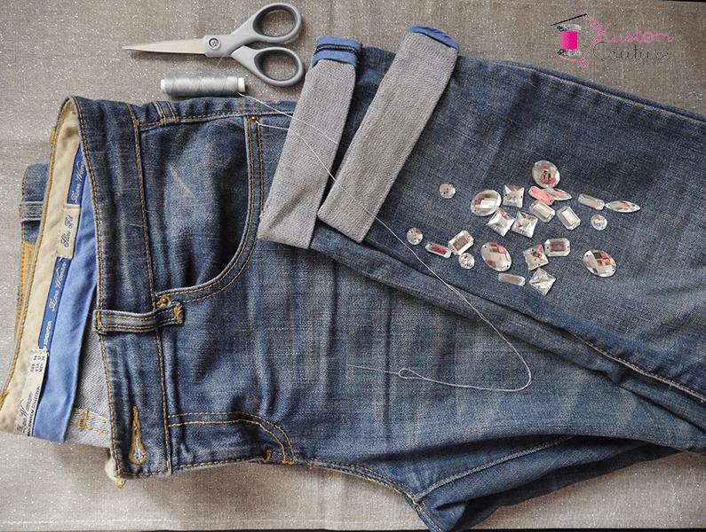 Customisation d'un jean avec strass | Kustom Couture