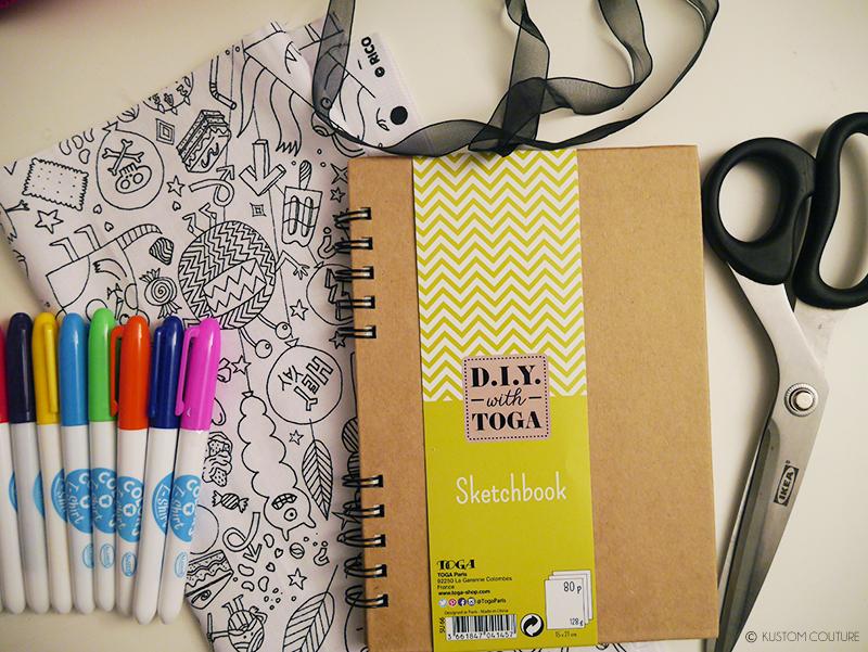 Coudre un protège-carnet en tissu à colorier | Kustom Couture