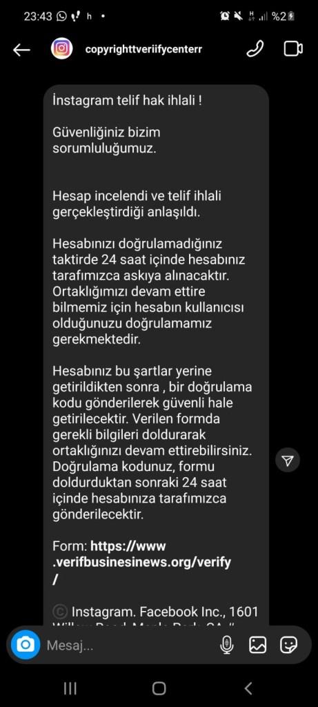 instagram Telif Hakkı Bildirim Mesajı Hesap Hackleme 1