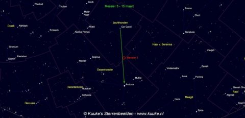 Zoekkaart voor M3 in Canes Venatici