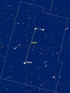 het sterrenbeeld Equuleus - Veulen met de namen van de sterren