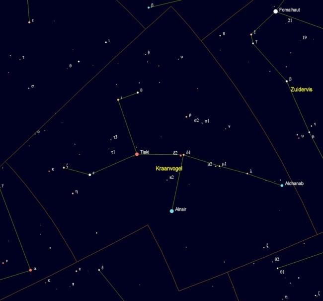Sterrenbeeld Grus - Kraanvogel met de namen van de sterren