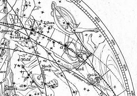 Het sterrenbeeld Turdus Solitarius volgens Young