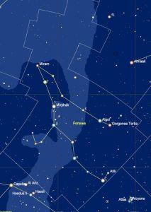 het sterrenbeeld Perseus met de namen van de sterren