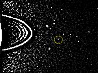 De ontdekkingsfoto van de kleine Uranusmaan Cupido.