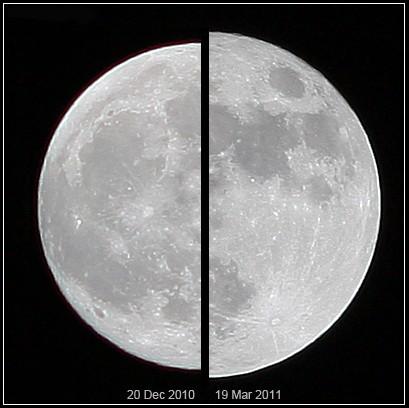 Vergelijking tussen een normale Volle Maan en een Supermaan