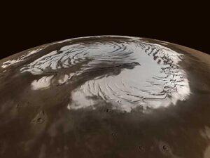 De noordpool van mars gedurende de winter