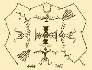 Oude tekening over Ahsonnutli van de Navajo's.