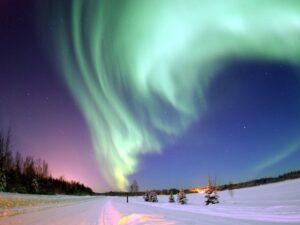 Poollicht zoals dat aan de polen van de Aarde waargenomen kan worden