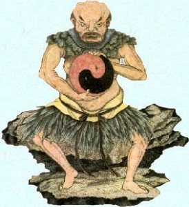 Pan-Ku met in zijn armen Yin en Yang.