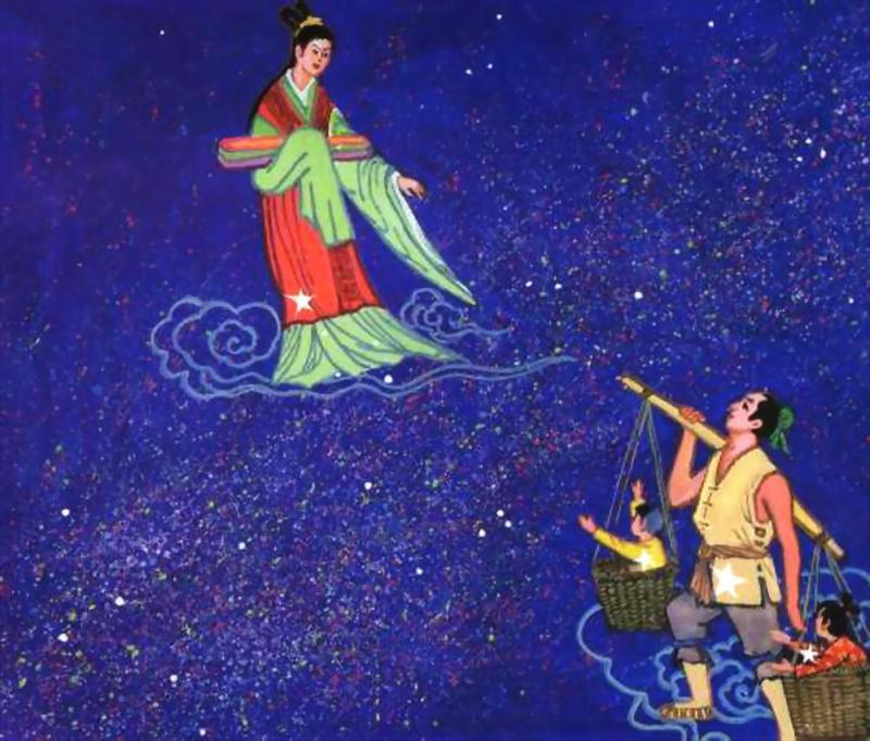 Afbeelding van de herdersjongen en het wevende meisje die nu nog steeds worden vertegenwoordigd tijdens het Qi Xi Jie festival.