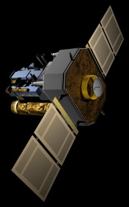 Artist impression van de SOHO-satelliet (NASA)