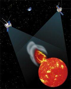 Artist impression van de beide STEREO-satellieten die de zon bestuderen (NASA)
