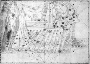 Argo Navis uit de steratlas Uranometrica van Johann Bayer die in 1603 verscheen.