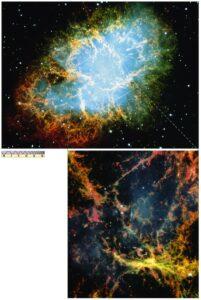 De Krabnevel is het restant van een supernova explosie die in 1054 zichtbaar was. De supernova was zo helder dat hij overdag zichtbaar was. Dezed supernova werd door o.a. de Chinezen uitgebreid bestudeerd. (Nanjing University)