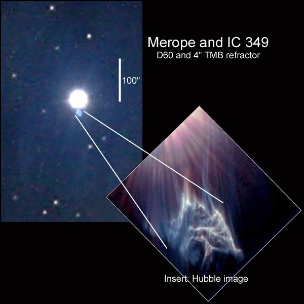 IC349 en de Merope-nevel in Taurus