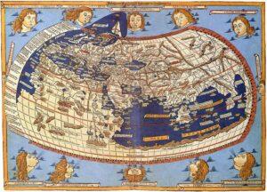 De wereldkaart volgens Ptolemeus