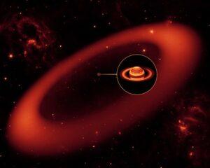 Artist impression van de grote ring om Saturnus