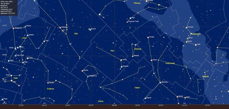 De westelijke sterrenhemel in februari 2018