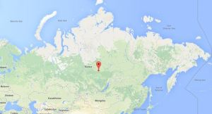 Locatie van de Toengoeska explosie in Siberië.