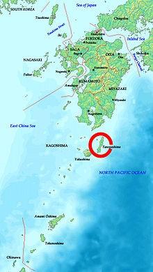 Het eiland Tanegashima in het zuiden van Japan