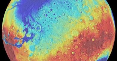 Mars - verschil tussen noordelijk en zuidelijk halfrond