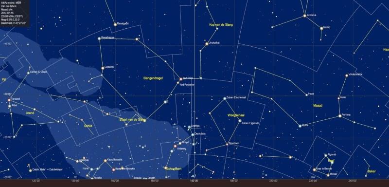 De sterrenhemel boven de zuidelijke horizon in juli
