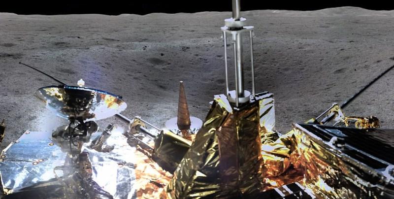 Chang'e 4 en krater aan de verre zijde van de Maan