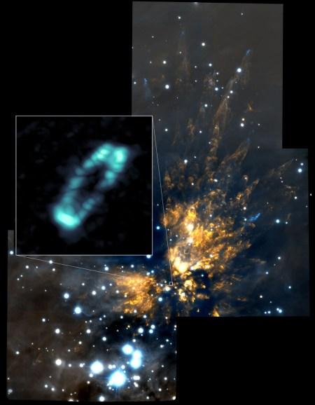 ALMA-opname van de zoutring rond de jonge ster