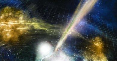 Artist impression van twee botsende neutronensterren