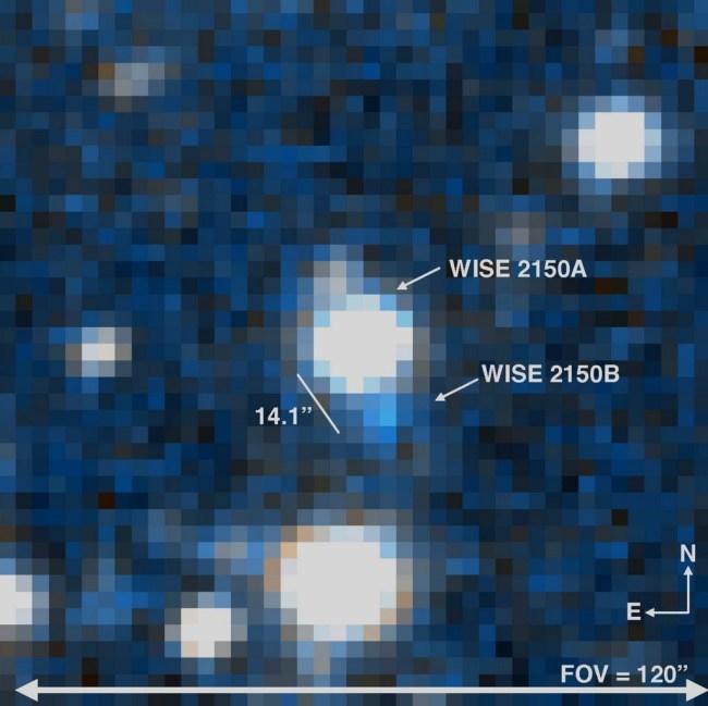 de dubbele bruine dwerg WISE 2150-7520AB