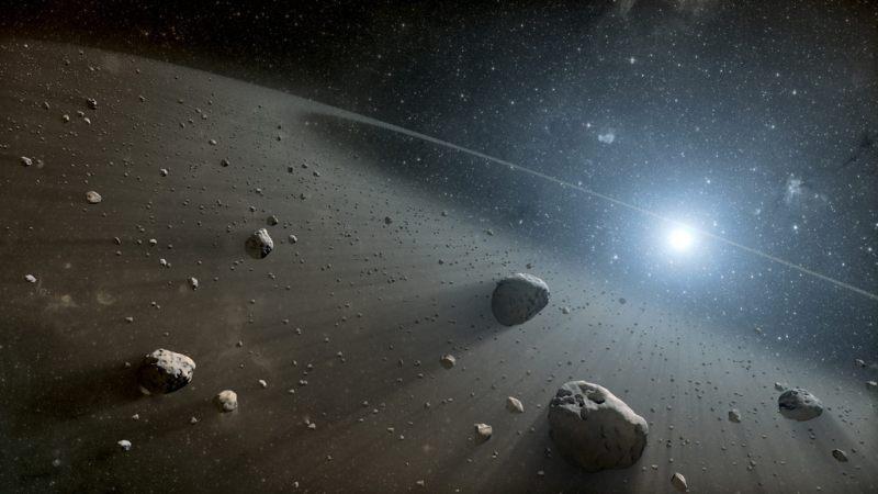 artist impressie van een asteroïdengordel rond de ster Wega