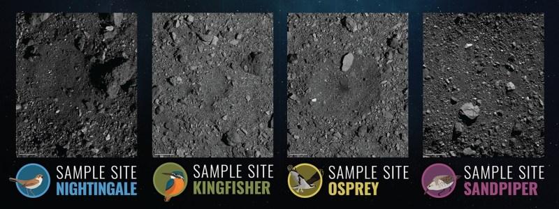 De vier potentiële landingsplaatsen voor de OSIRIS-REx op Bennu