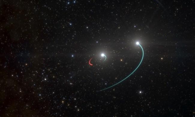 Artist impressie van de banen van de sterren en het zwarte gat van HR 6819