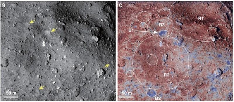 Oppervlakte details van de asteroïde Ryugu
