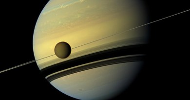 Titan in een baan om Saturnus