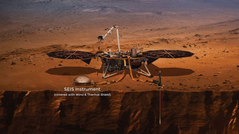 Artist impression van de InSight op Mars met op de voorgrond de seismometer