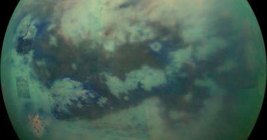 Opname van Titan, gemaakt door de Cassini ruimtesonde