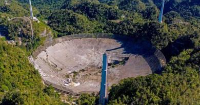 De verwoeste radiotelescoop van Arecibo