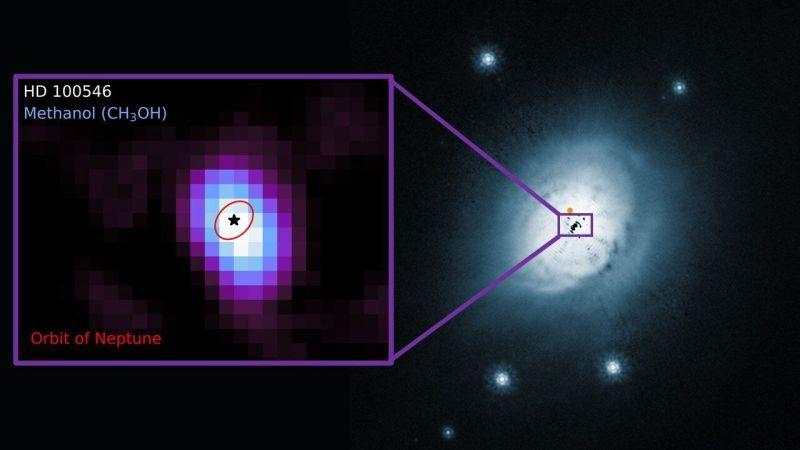 combinatiefoto stofschijf en methanol bij de ster HD 100546