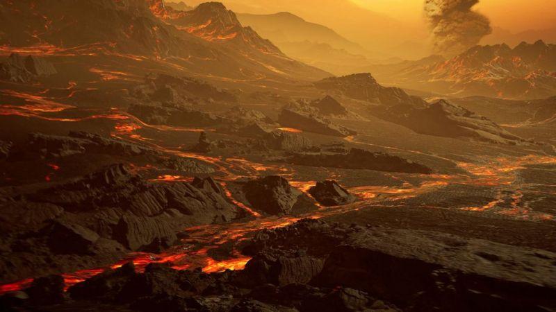 Artist impressie van het oppervlak van Gliese 486 b